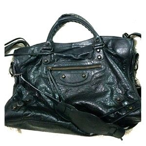 Balenciage Black distressed City Bag